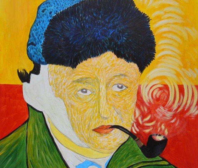 drMáriás: Biszku Béla Van Gogh Műtermében, 2011, akril, farost, 90 x 120 cm