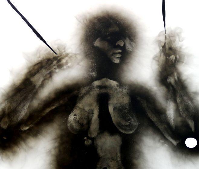 Szirtes János: 92/66, 1992, akril, korom, vászon, 90 x 80 cm