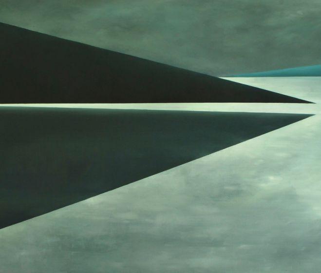Juliusz Kosin: Fjord, 2016, olaj, vászon, 110 x 180 cm