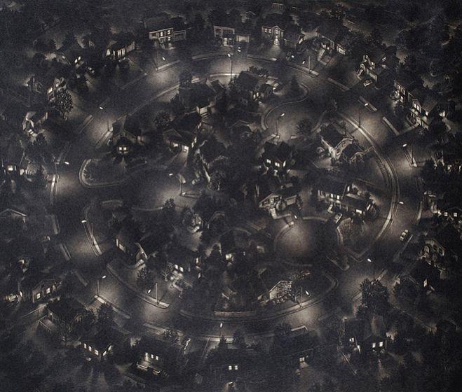 Art Werger: Kapcsolatok, 2011, mezzotinto, 45 x 60 cm