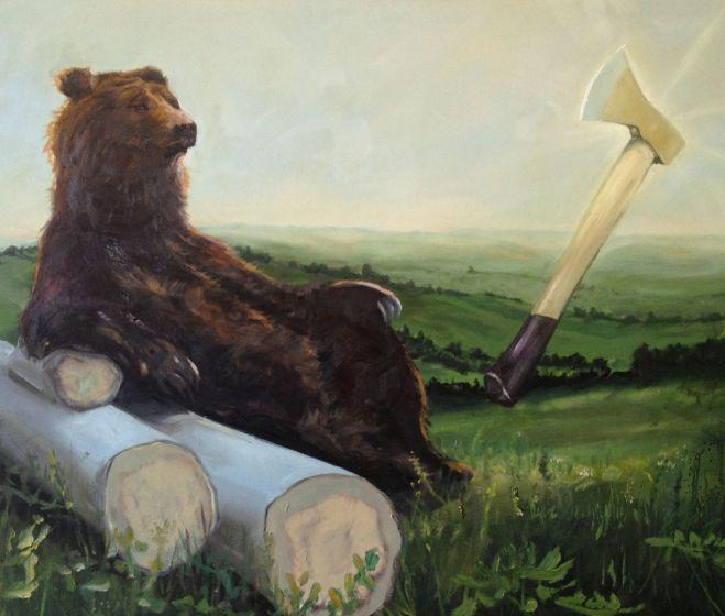 Nagy Gabriella: Fényes fejsze, 2014, olaj, vászon, 110 x 150 cm