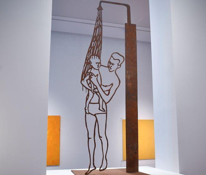 Fehér László: Zuhany alatt, 1994, vas, 230 x 90 x 1 cm