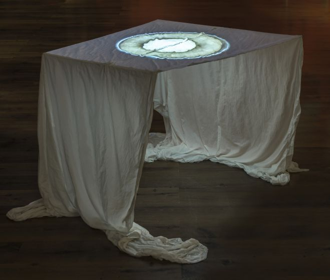 Károly Szabó: Impassible Waking, 2017, hardened canvas, video, 77 x 120 x 135 cm, 480'