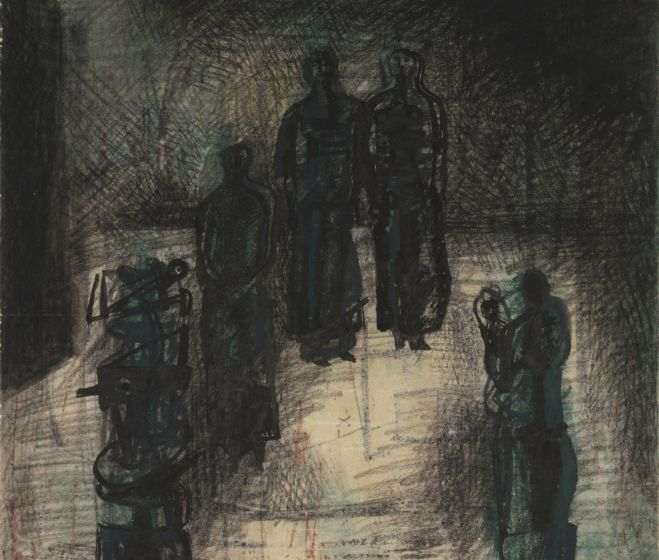 Moore, Henry Spencer, Standing figures, 1938, chalk, ink, wash on paper, 36,4x36 cm
