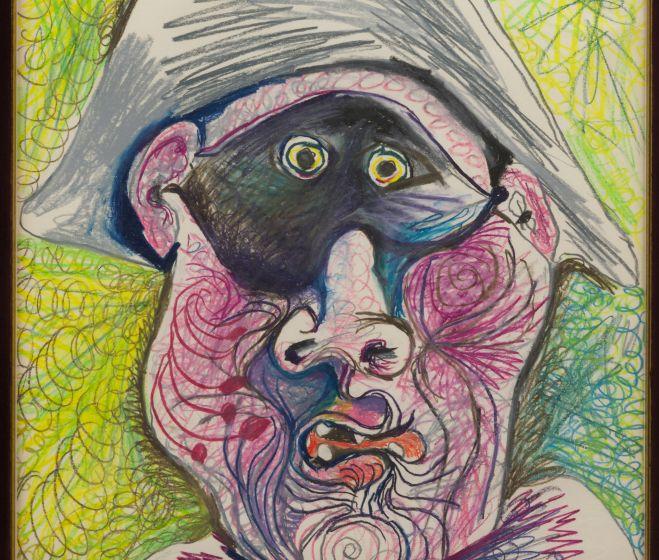 Pablo Picasso, Harlequin fej II., 1970, ceruza, pasztell, papír 49x64 cm