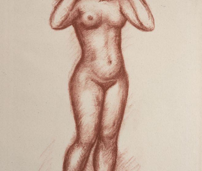 Aristide Maillol, Femme nue debout  deface, litográfia, 24,8x36,5 cm