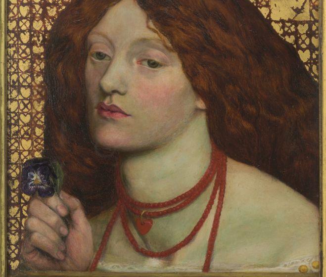 Dante Gabriel Rossetti, Regina Cordium, 1860, olaj, vászon és aranyfüst, 25,4x20,3 cm