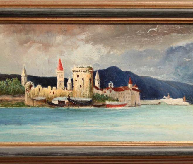 Csontváry Kosztka Tivadar, Délutáni vihar Trauban, 1900, olaj, vászon, 22,7x63,4 cm