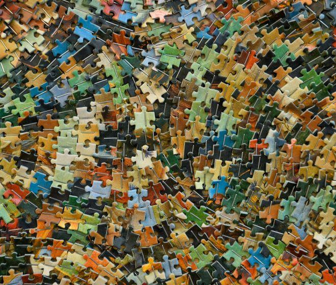 Tarr Hajnalka, Botticelli: Vénusz születése, forgácslemez, puzzle, 280x173 cm, 2011