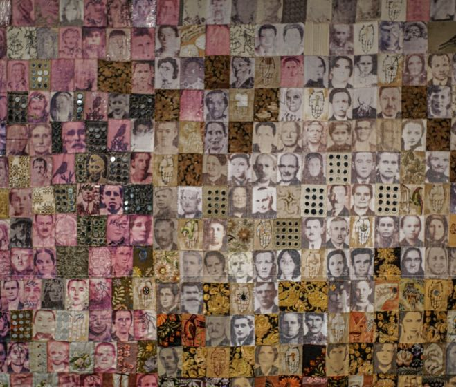 Richter Sára, Hundred Faces, embroidery, application, digital print on canvas, 2015
