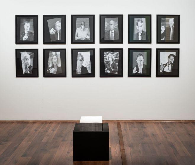 Csontó Lajos, Poligami, 12 db hajtogatott plakát, fotó, papír (50×40 cm), 2018